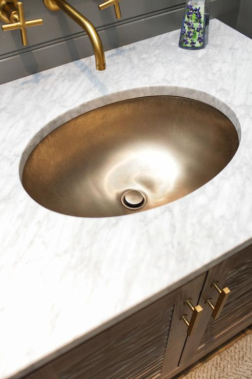 Oak Bath Vanity With Tassel Hardware Trim Transitional
