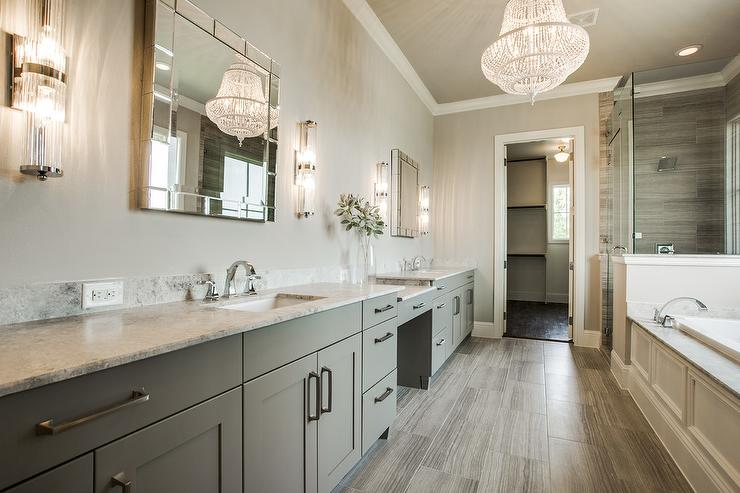 Gray On Bathroom Design With White Chandelier