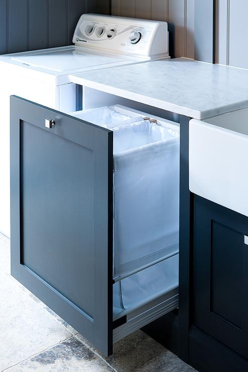 Lovely Blue Pull Out Cabinet With Laundry Sorter Bins