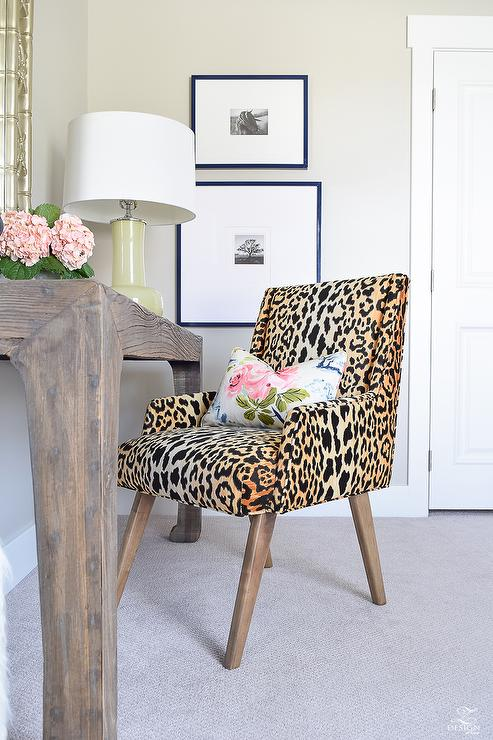 Leopard Print Desk Chair Transitional Denlibraryoffice