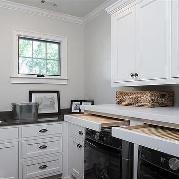 Laundry Room With Gray Mini Brick Backsplash