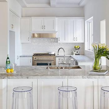 Beau White Kitchen Cabinets With Super White Dolomite