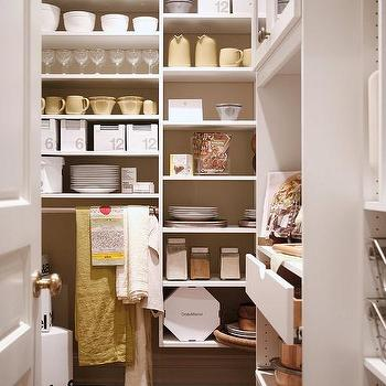 White Modular Pantry Shelves With Towel Rack