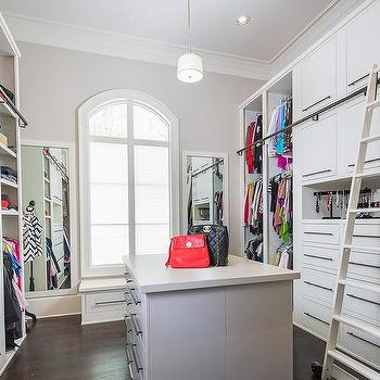 Attrayant Walk In Closet With Ladder On Rails