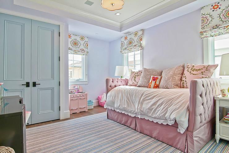 Pale Pink Roll Arm Daybed With Gray Pillows Transitional