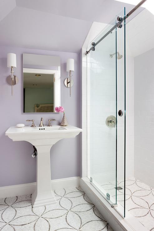 Bathroom farrow and ball dimity for Light purple bathroom accessories