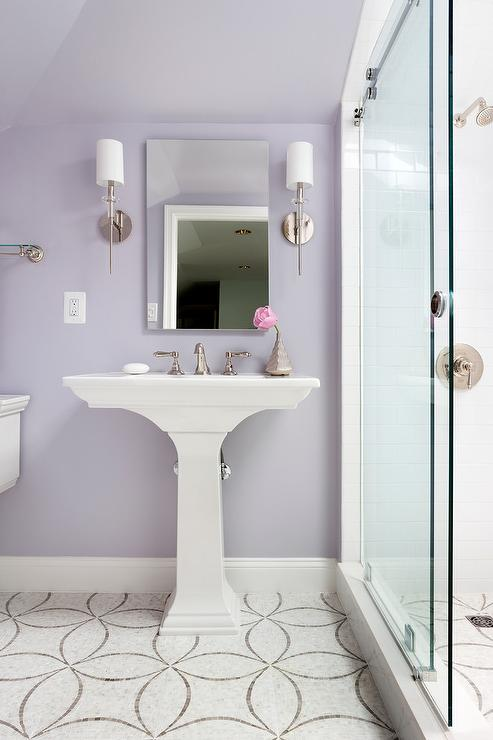 Purple Girl Bathroom With White And Gray Mosaic Floor Tiles - Purple-mosaic-bathroom-tiles