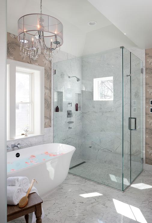 Spa Like Bathroom With Gray Sheer Drum Pendant