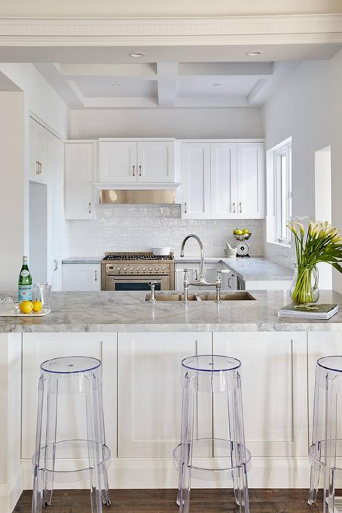 White Kitchen Cabinets With Super White Dolomite