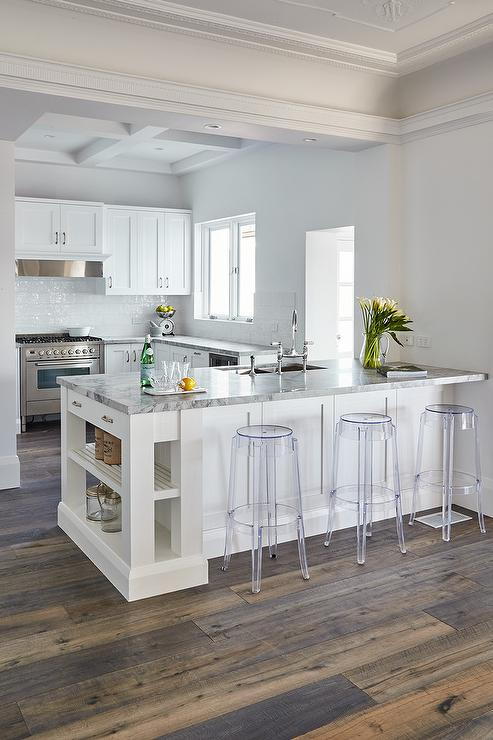 Kitchen Peninsula With Charles Ghost Bar Stools Transitional Kitchen