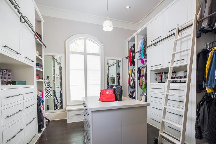 White Walk In Closet white walk in closet with triple stacked clothes rails