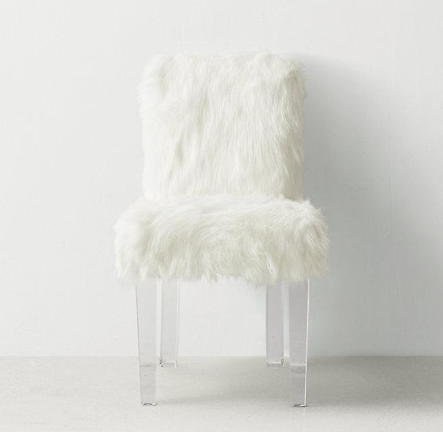 Pink Faux Fur Cabriole Legs Desk Chair