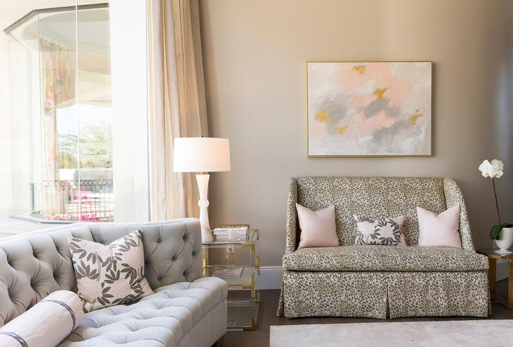 Leopard Print Settee With Pink And Gray Abstract Art