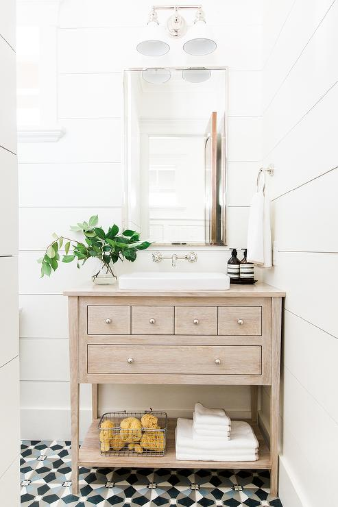 mosaic knobs bleached oak washstand with shiplap walls transitional bathroom