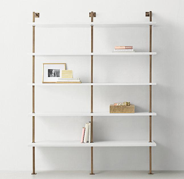 White Shelves Brass Metal Support Double Shelving