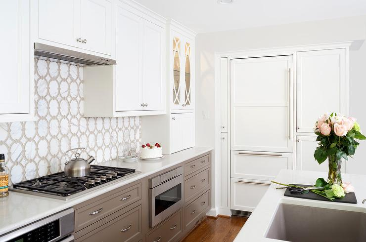 White Upper Kitchen Cabinets With Taupe Lower Kitchen Drawers Transitional Kitchen