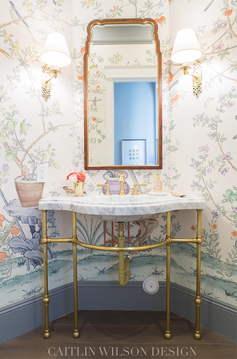 Marble And Brass Washstand With Chinois Wallpaper