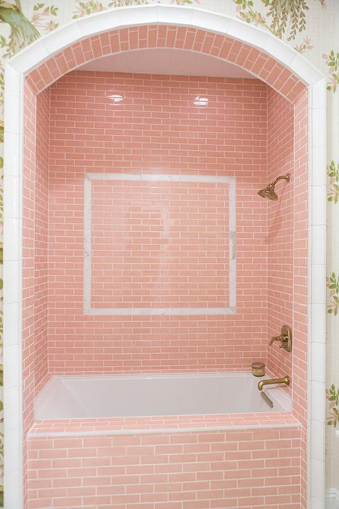 Girly Bathroom With Pink Shower Tiles