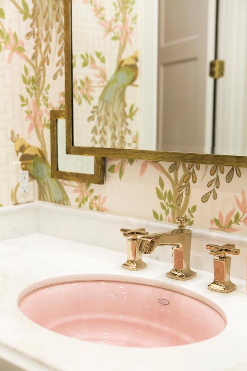 Amazing Girl Bathroom With Oval Pink Sink