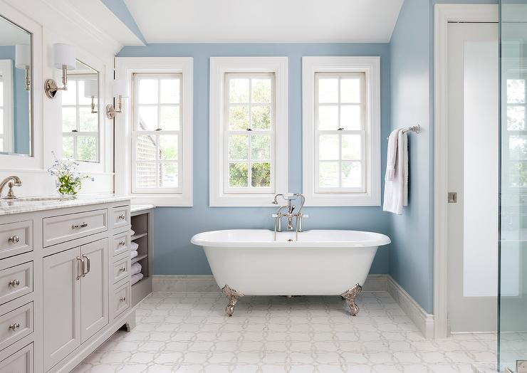 Blue And Gray Bathroom With Silver Claw Foot Bathtub View Full Size