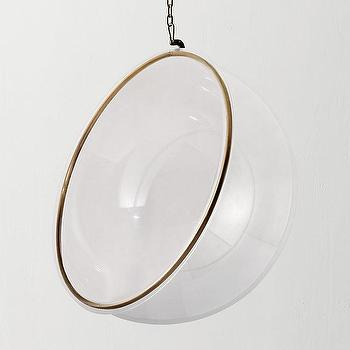 Merveilleux Brass Lined Acrylic Ball Hanging Chair