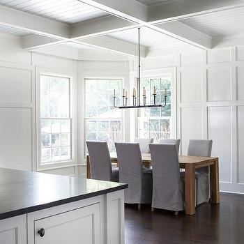 European White Oak Dining Table With Gray Slipcovered Chairs