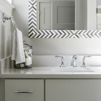 Gray Mirror With White Sink Vanity Cottage Bathroom