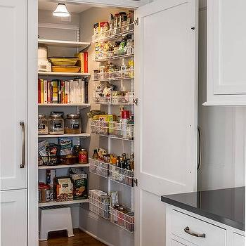 Quartersawn Design Build Paneled Cabinet Door Opens To Hidden Kitchen Pantry