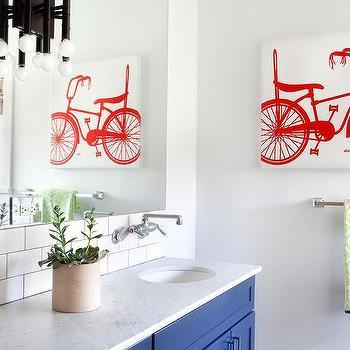 Red Bicycle Kid Bathroom Canvas Art Design Ideas