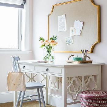 White Desk with Powder Blue Windsor Chair & Serena And Lily Tucker Chair Design Ideas
