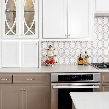 White Kitchen Upper Cabinets And Taupe Kitchen Lower Cabinets