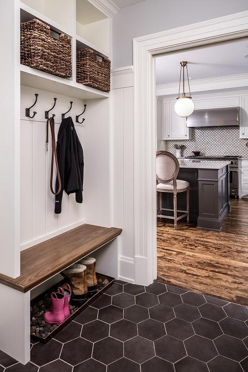 Mudroom with Black Hexagon Tile Floor - Transitional - Laundry Room