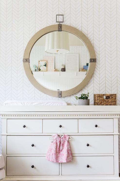 Antiqued White French Nursery Dresser, How Wide Should A Mirror Be Over Dresser