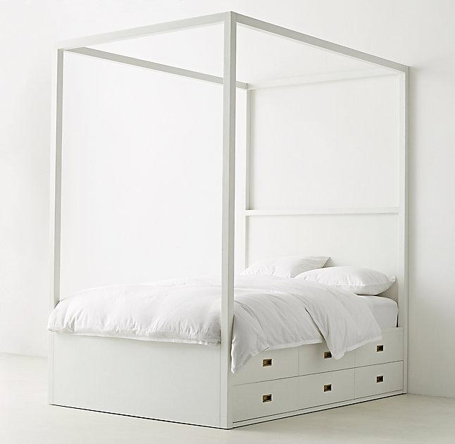 White Three Drawer Storage Canopy Bed view full size & White Full Canopy Bed