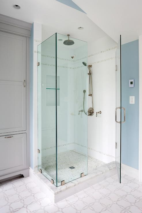 Gray Shower Tiles With Vintage Style Exposed Plumbing