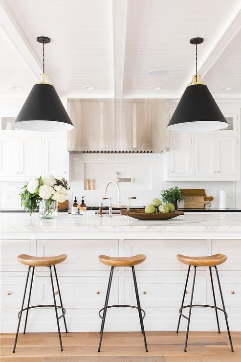 White island with black light pendants transitional kitchen white island with black light pendants workwithnaturefo