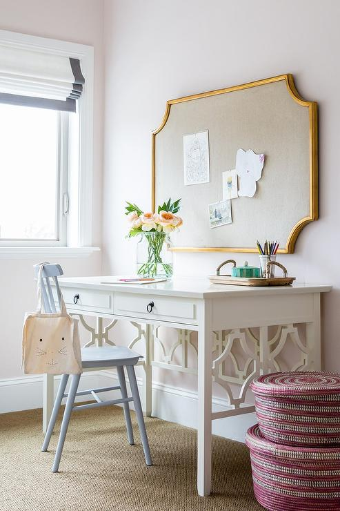 White Desk With Powder Blue Windsor Chair