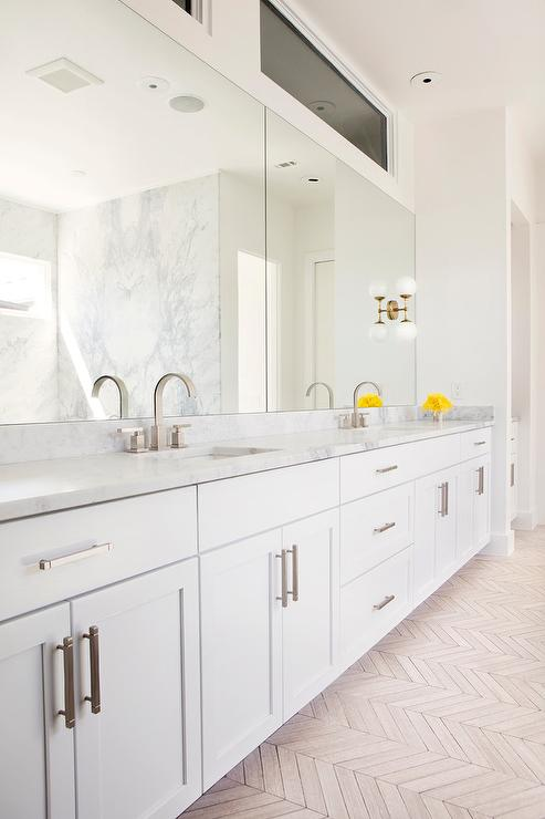 white master bathroom with taupe herringbone tiled floor - Shaker Bathroom 2016