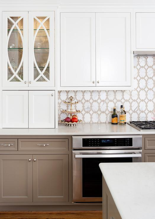 White Upper Kitchen Cabinets with Taupe Lower Kitchen ...