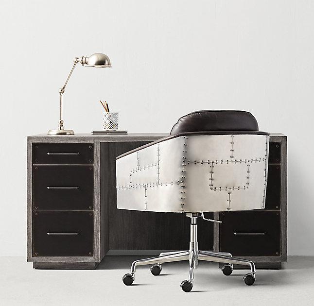 Pia Wooden Industrial Metal Desk