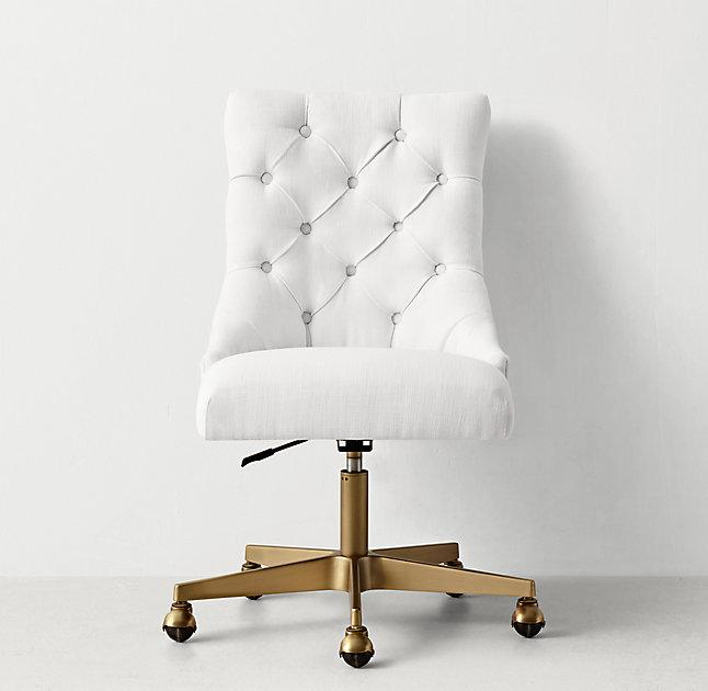 White Button Tufted Adjustable Antiqued Brass Caster Desk