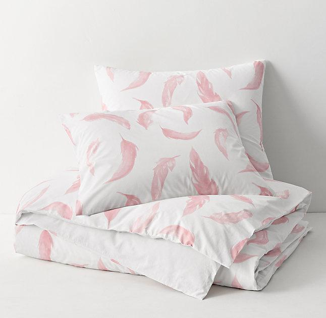Pink Painted Feathers White Duvet Cover