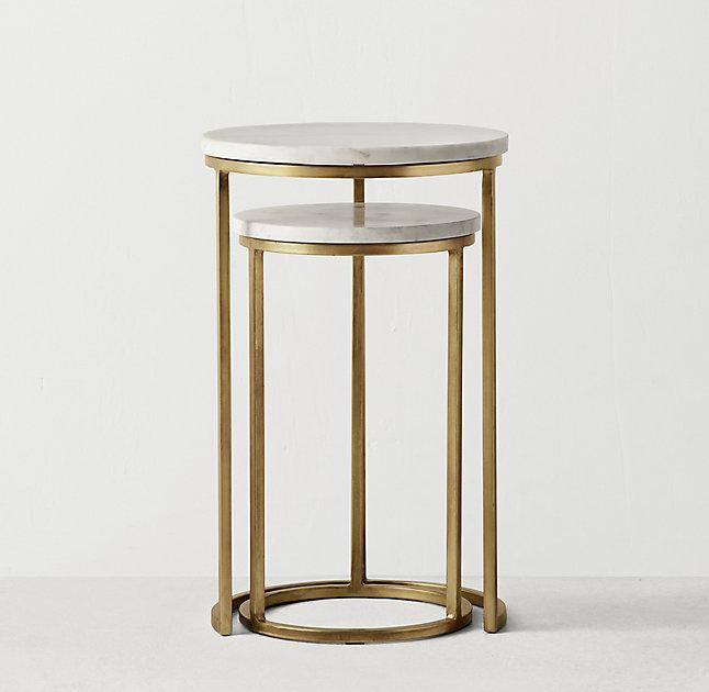 Round white marble brass base nesting side tables watchthetrailerfo