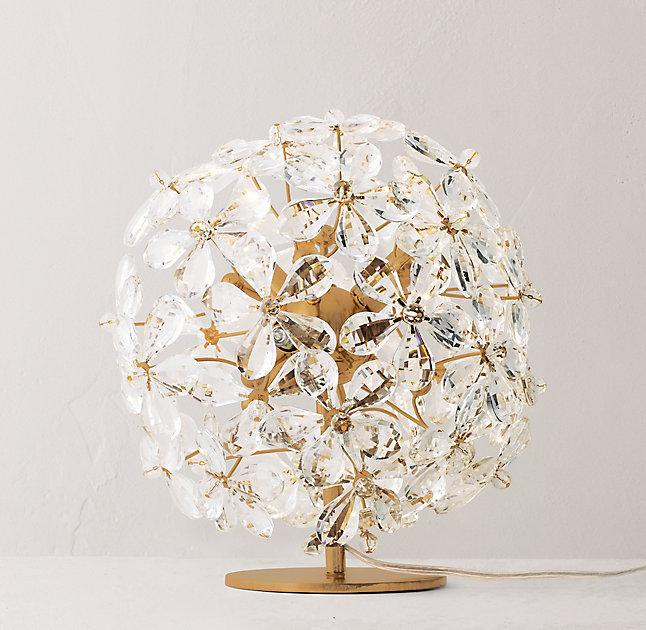 Round Floral Crystal Accent Lamp