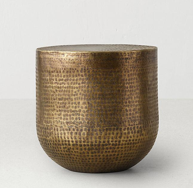 Beautiful Hammered Pattern Brass Low Side Table