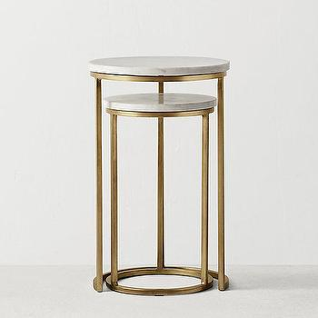 Monroe Glass Top Brass Nesting Side Table