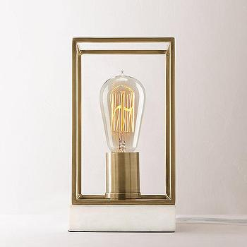 Marble Base Exposed Bulb Brass Cage Accent Lamp