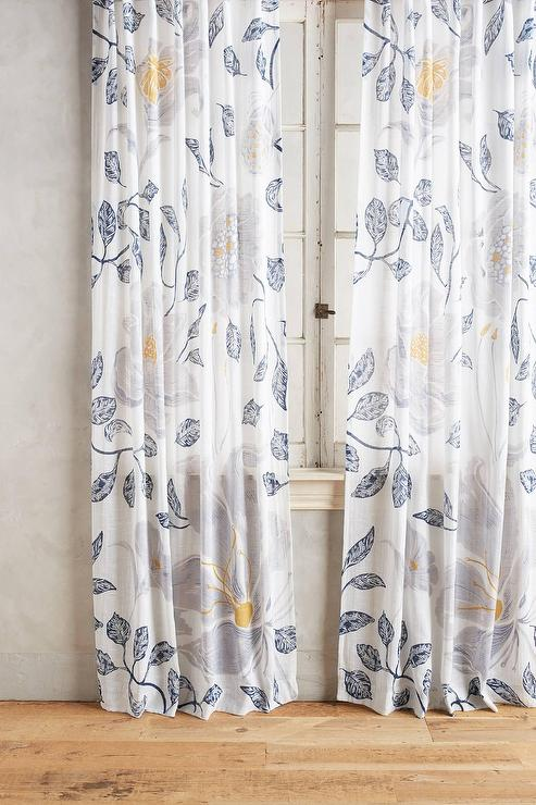 Blue And Yellow Curtain Fabric Blue Kitchen Curtains