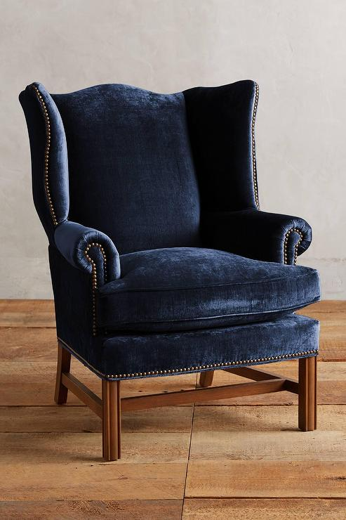 Navy Velvet Nailhead Accents Winged Chair View Full Size