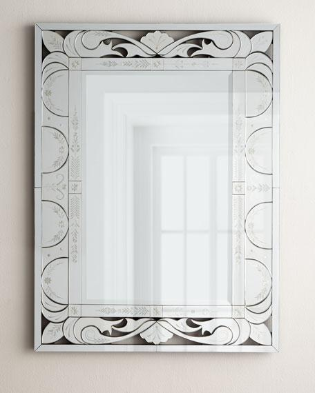 Rectangle Venetian Etched Frame Mirror
